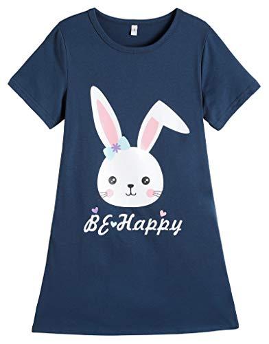 Hupohoi Big Girls' Short Sleeve Nightgown Lovely Bunny Sleepdress Bowknot Nighty Nightdress PJS, Bunny, 18(US 15-18 Years)