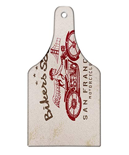 Lunarable Retro Cutting Board, Bikers Soul San Francisco Emblem with Skull Wings Riding Motorcycle Dead Illustration, Tempered Glass Serving Board, Wine Bottle Shape, Medium Size, Beige Ruby