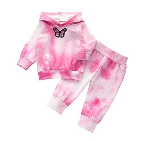 Carolilly Ensemble Enfant Bébé Fille de 2 Pcs Sweats-Shirt à Capuche + Pantalon Vêtement Tie-Dye...