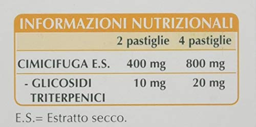 Dr. Giorgini Integratore Alimentare, Monocomponenti Erbe Cimicifuga Estratto Titolato al 2,5% in Glicosidi Triterpenici Pastiglie - 30 g