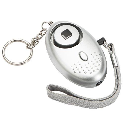 Levivo Schlüsselanhänger mit Taschenlampe und Alarm – Silber, 55 x 80 x 30 mm