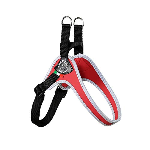 Tre Ponti Fibbia pequeño Perro arnés con Correa Ajustable para el Vientre, 3,5cm, Color Rojo
