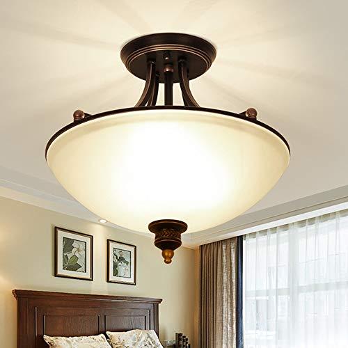 E27 Plafones Retro Vintage Diseño antiguo Lámpara de techo de vidrio Metal industrial Loft, Lámpara de estudio, Lámpara de comedor, Lámpara de sala, Lámpara de dormitorio, Lámpara de pasillo, 45x43cm