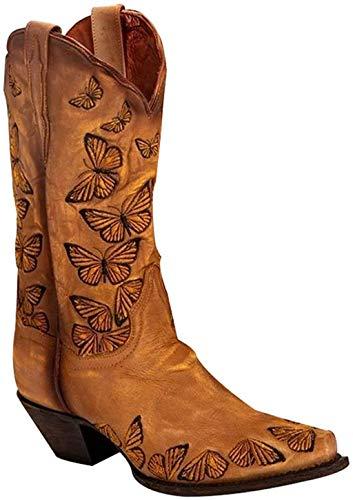UMore Botas Altas Invierno Mujer, Botas de Nieve Caña Ancha Zapatos Mujer Cuña Planos Sintética Peluche Jinete Bajo Cómodos Peludas Calentitas 2020