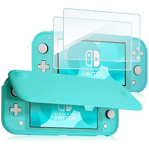 ProCase Funda Protectora para Nintendo Switch Lite con 2 Protectores de Pantalla Vidrio Templado, Estuche con Tapa Antiarañazos de Cubierta Suave y Delgada para Nintendo Switch Lite 2019 – Turquesa