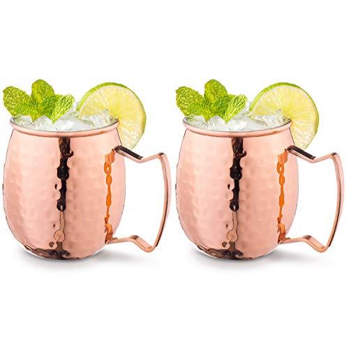Wisolt , set di due tazze per Moscow Mule, realizzate a mano, 100% per alimenti, in puro rame, con manici in ottone, per birra allo zenzero, whisky, vodka, cocktail, 500 ml