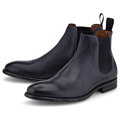 Ludwig Görtz Herren Chelsea-Boots Grau Glattleder 44