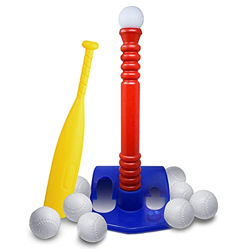 GoBroBrand T-Ball Set For Toddlers, Kids, Baseball Tee Game Includes 6...