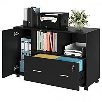 Kealive File Cabinet with Lock and Drawer Mobile Wood Lateral Filing Cabinet Printer Stand with Lockable Casters and Open Storage Shelves for Home Office Black
