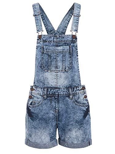 NEU Denim Latzhose Shorts Damen Größe 8 10 12 14 16 - Denim Blau, 54