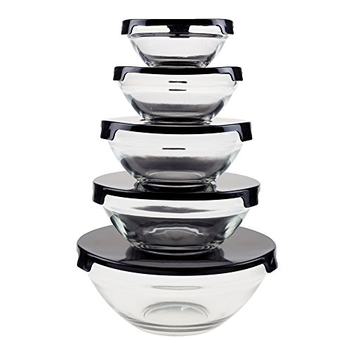Chef Buddy Glass Food Storage Containers with Snap Lids- 10 Piece Set with Multiple Bowl Sizes for Storage, Meal Prep, Mixing and Serving (Black)
