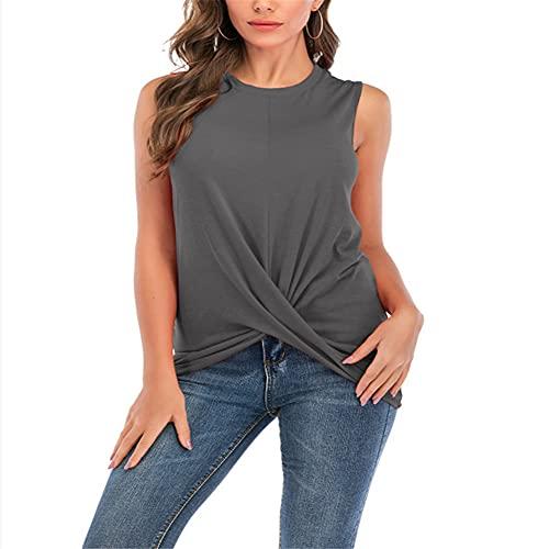 Camiseta de Manga Corta para Mujer Blusas y Blusas Casuales de Color sólido Camisa sin Mangas Informal Tops de túnica Blusa Camiseta sin Mangas con Costura Plisada y Cuello Redondo Informal