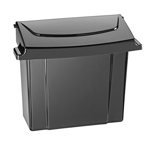 Alpine Sanitary Napkins Receptacle 5 x 9 x 12 in - Hygiene Products, Tampon & Waste Disposal Container - Durable ABS Plastic - Seals Tightly & Traps Odors -Easy Installation Hardware Included (Black)