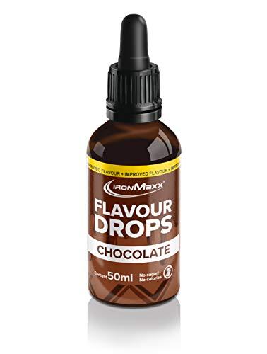 IronMaxx Flavour Drops - 50 ml - Schokolade - Kalorienfrei & Zuckerfrei - Aroma Tropfen für Quark, Joghurt, Getränke & mehr -Einfache Benutzung dank Pipetten-Verschluss - Designed in Germany