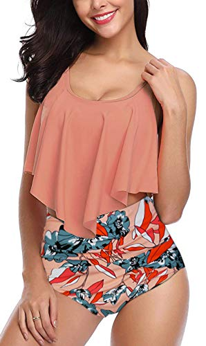 Fancyskin Swimsuits for Women Bathing Suits Top Ruffled High Waisted Set Orange M