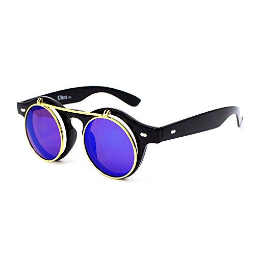 Ultra Negro Marco Azul Lente Redondo Flip Up Gafas Da Sol Steampunk Hombre Mujer UV400 Retro Gótico Vintage Goggles Cosplay Punk Clásicos Unisex