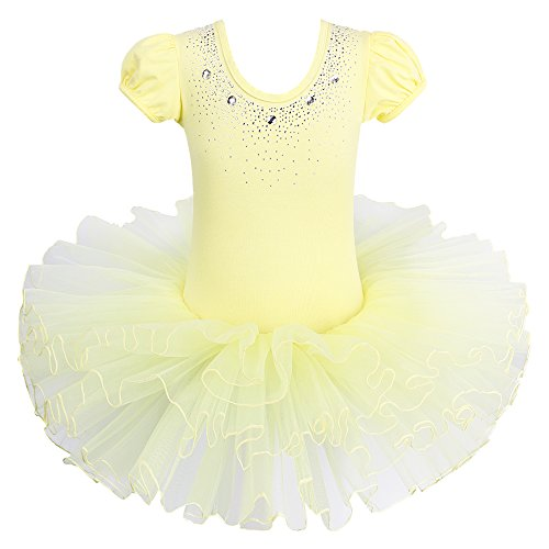 BAOHULU Kids Leotards for Dance Short Sleeve Rhinestone Ballet Tutu Dress for Little Girls 3-8 Years B093_Yellow_XXL