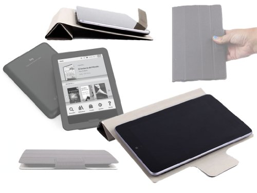 DURAGADGET Funda Rígida Gris con Cierre Magnético Y Adhesivo Interno para El eBook BQ Cervantes Touch Light