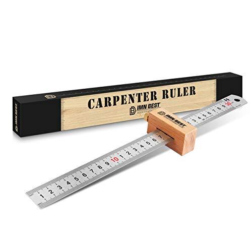 ImnBest Streichmaß Anschlaglineal -30cmAnreißlineal Edelstahl linealanschlag Anreisswerkzeug -Streichmaß mit Anschlag aus Buchenholz