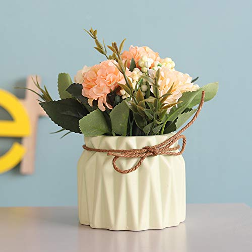 XIAOHONG Flores artificiales en maceta, diseño europeo, hortensias de seda, arreglos para bonsái, casa, oficina, restaurante, mesa, centros de mesa, decoración de alféizar