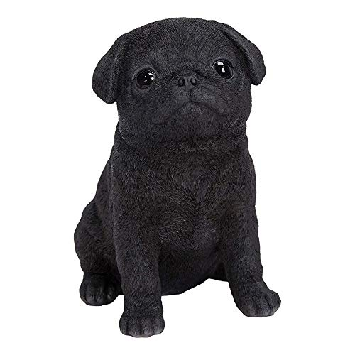 Vivid Arts | Pet Pals Black Pug Puppy | Resin Home or Garden Decoration | PP-BPUG-F