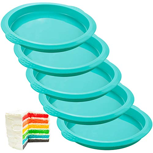 Webake Layer Cake Pans Set, 6 Inch Round Rainbow Cake Baking Pans, Silicone Cake Mold for Jumbo Whoopie Pie Cake Vegetable Pancakes Taco Shells Pizza Crust Omelet Frittata, and Resin Craft (Set of 5)