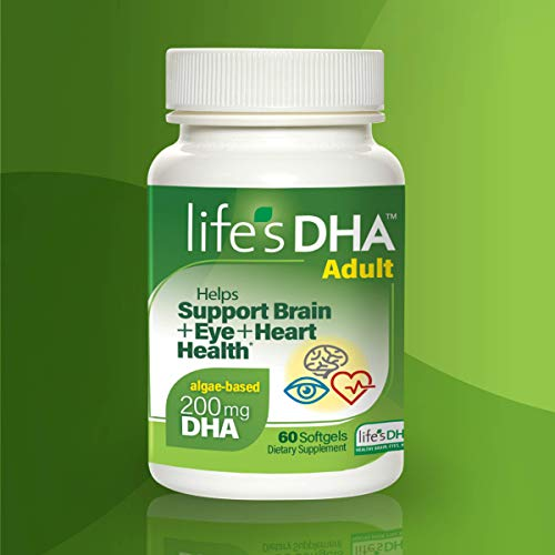 Life's DHA All-Vegetarian DHA Dietary Supplement | Supports a Healthy Brain, Eyes & Heart* | 100% Vegetarian | From All-Natural Plant Source | 200 mg of DHA Omega-3 | 60 Softgels
