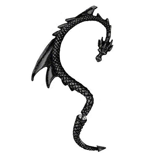 Dragón Pendientes manguito de oreja | con tonos negro| by Serebra Jewelry