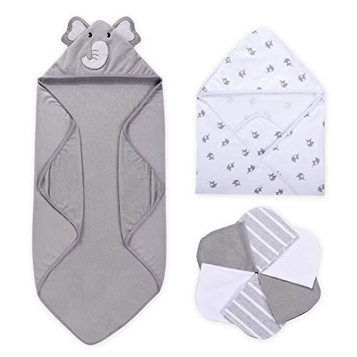 Momcozy Baby Badetuch Set, 8-teiliges Babyhandtuch Set, 2x Baby Kapuzenhandtuch 76X76 cm und 6x Baby Waschlappen 24x24cm, Babyhandtuch mit Kapuze für Neugeborene, Weich & Super Saugfähig, Unisex