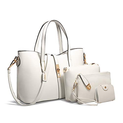 Tibes Fashion Women's PU Leather Handbag+Shoulder Bag+Purse+Card Holder 4pcs Set Tote White