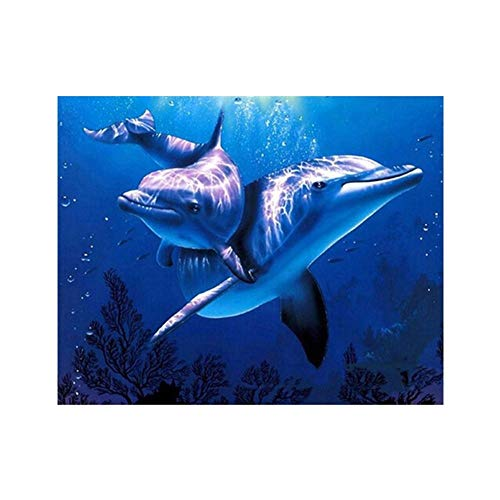 Lovely Dolphins 5D Diamond Painting Kits Full Drill DIY Cross Stitch Rhinestone Pasted Handmade Gift Durable and Useful