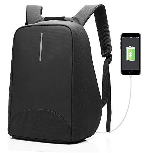 CoolBELL Rucksack Laptop Backpack 15.6 Inch City Anti Theft Backpack School Backpack with USB Charging Port School Bags Casual Daypack for Men/Women/Business/Work/Travel, Black