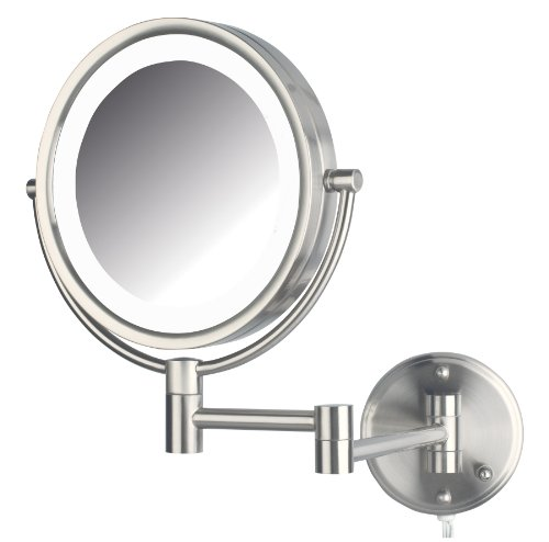 Jerdon HL88NL 8.5-Inch LED Lighted Wall Mount Makeup Mirror with 8x Magnification, Nickel Finish
