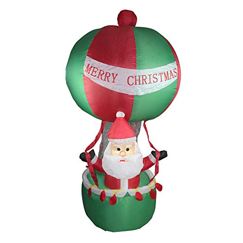 Northlight 72' Red and Green Inflatable Santa in Hot Air Balloon Lighted Christmas Outdoor Decor