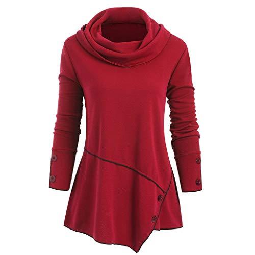 Xmiral Pullover Damen Patchwork Langarm Rollkragen Bluse Unregelmäßiger Saum Schalkragen Sweatshirt Einfarbig Übergröße Tasten Oberteile(Rot,M)