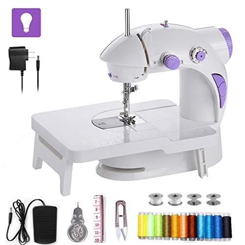 Cabina Home - Máquina de coser pequeña con mesa de extensión, con pedal, máquina de coser eléctrica, portátil, rápida y manejable, con accesorios