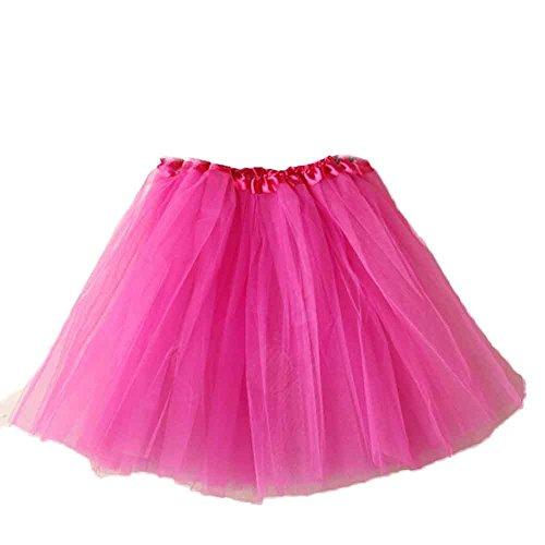 VEMOW Elegante Damen Tutu Petticoat Womens Karneval Short Rock Plissee Gaze Kurzen Rock Erwachsene Tutu Tanzen Rock für Rockabilly Kleid(Y1-Hot pink, Einheitsgröße)