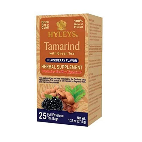 Hyleys Tamarind With Green Tea Blackberry Flavor - 25 Tea Bags (Gmo Free, Gluten Free, Dairy Free, Sugar Free & 100% Natural)