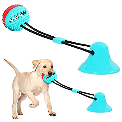 Dog Toys Dog Toothbrush Dog Chew Toys Dog Squeaky Toys Suction Cup Dog Toy, Puppy Teeth Cleaning Chew Toys Pet Molar Bite Toy Interactive Pet Treat Ball, Dog Multifunction Interactive Ropes Toys