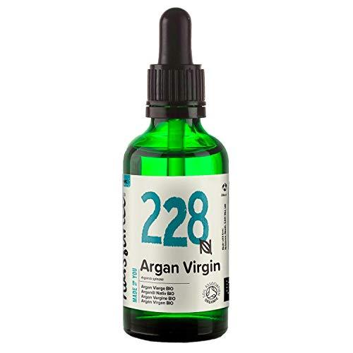 Naissance marokkanisches Arganöl Nativ BIO (Nr. 228) 50ml - kaltgepresst, rein natürlich - Pflegeöl für Gesicht, Haut, Haar, Bart & Nagelhaut - Glasflasche mit Pipette
