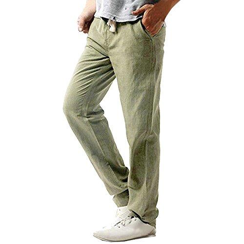 Homme Pantalon de Sport, Manadlian Pantalon en Lin Jogging Bas de Survêtement Sweat Pants