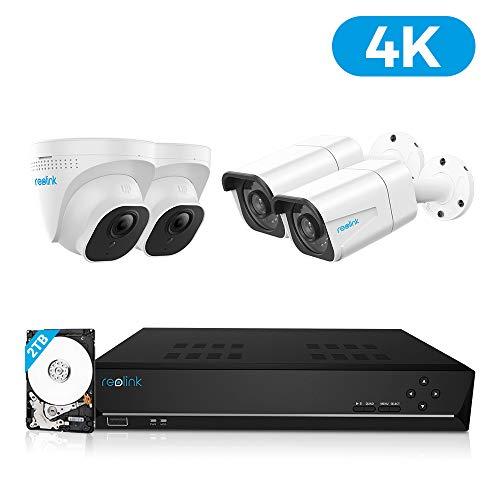 Reolink 4K PoE Überwachungskamera Set mit 4X 8MP Ultra HD Outdoor IP Kameras, H.265 8-CH 4K NVR Rekorder mit 2TB HDD für 24/7 Aufnahme, Wetterfest, Digitales Zoom, Audio, RLK8-800B2D2
