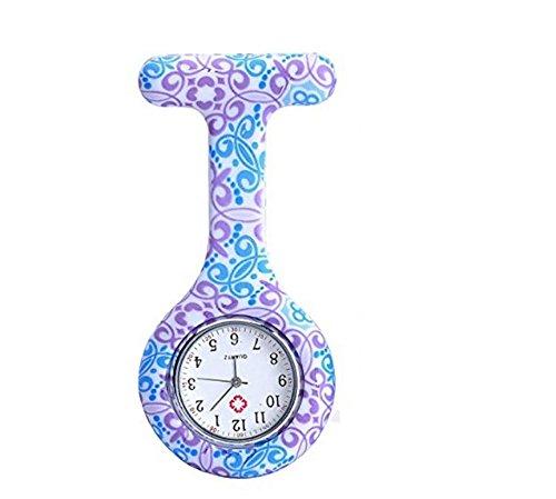 longsheng Reloj médico de las enfermeras del reloj del silicón de las flores de