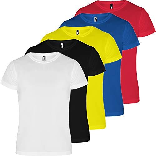 13MW Camiseta técnica Hombre | Pack 5 | Tejido técnico para Deporte | Transpirable | Running, Fitness, Fútbol, Padel (Combinación 1, M)