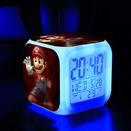 FENGHE Super Mario Uhr Mario Wecker Super Mario Mario Brüder Mario Buntes leuchtendes Wecker Geschenk