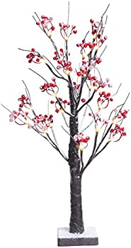Fristmas Lighted Tree Table Lamp with Red Berries