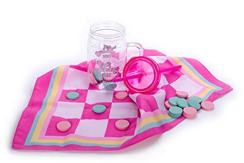 Tri-Coastal Design - ¡Taza de plástico con papelería, artículos para el Cabello o Juegos Divertidos para Llevar a la Playa Durante el Verano! - Sin BPA (Checkers)