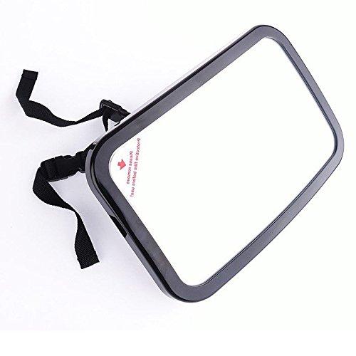 Romsion Spiegels & Accessoires Auto Achterbank Onbreekbare Baby Veiligheidsspiegel, 360° Verstelbare Achteraanzicht Baby Achterbank Spiegel, Zwart