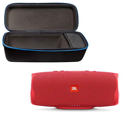 JBL Charge 4 Portable Waterproof Wireless Bluetooth Speaker Bundle with divvi! Charge 4 Protective Hardshell Case - Red
