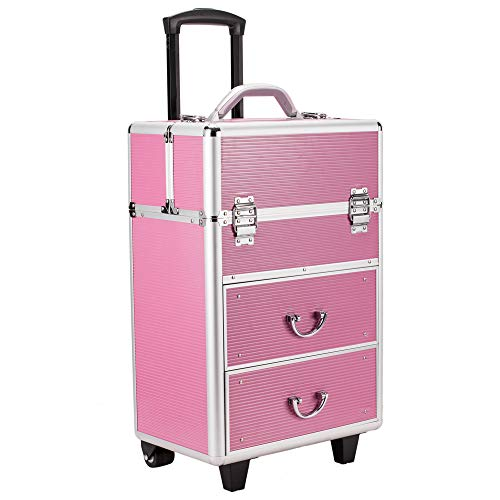 3 in 1 Lockable Makeup Case Artist Travel Cosmetic Case Aluminum Rolling Trolley Beauty Train Case Cosmetic Organizer with Extendable Trays and Drawers Pink